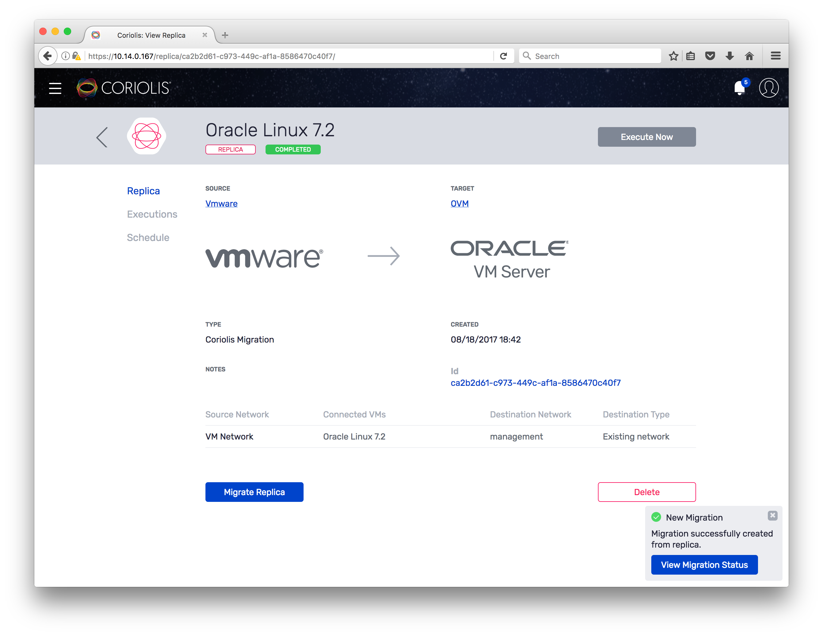 Coriolis - How to migrate VMs from VMware to Oracle VM using the Web